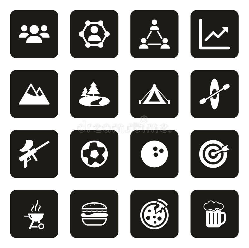 Negro de Team Building Icons White On libre illustration