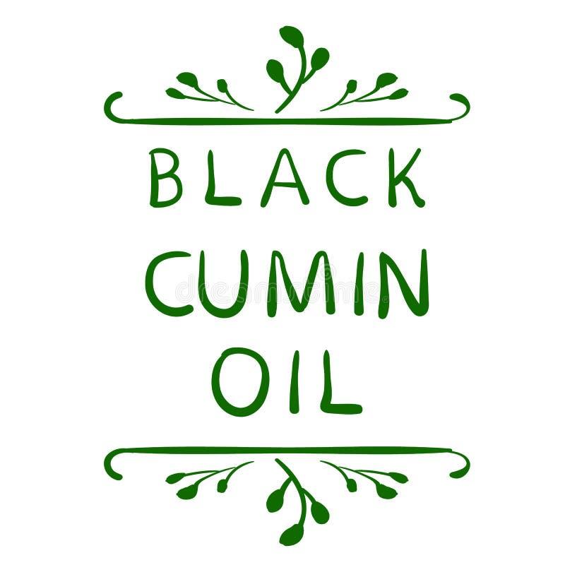 Negro Del Aceite De Comino Del ` Elemento Tipográfico Dibujado Mano ...