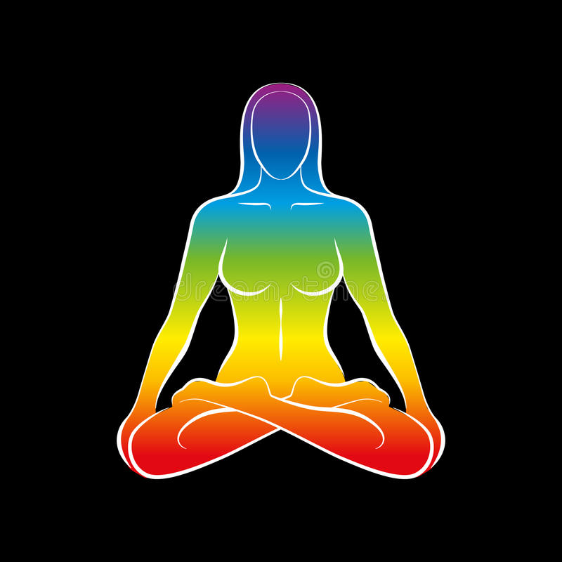 Negro del arco iris del alma del cuerpo de la mujer stock de ilustración