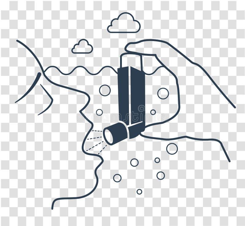 Negro del asma bronquial del icono stock de ilustración