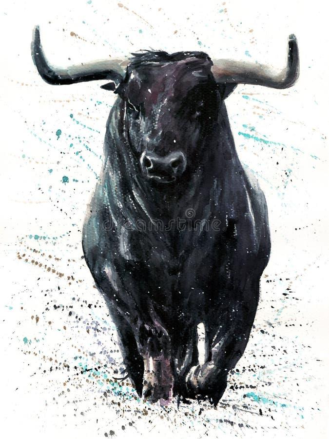 Negro del búfalo con la pintura de la acuarela de Bull del fondo con el fondo, fauna de los animales, ilustración del vector