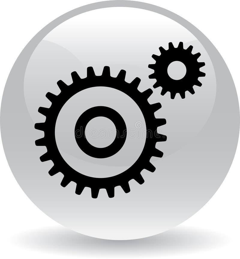 Negro del botón del web de los ajustes ilustración del vector