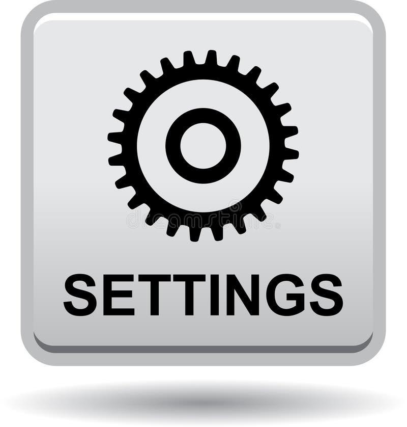 Negro del botón del web de los ajustes stock de ilustración
