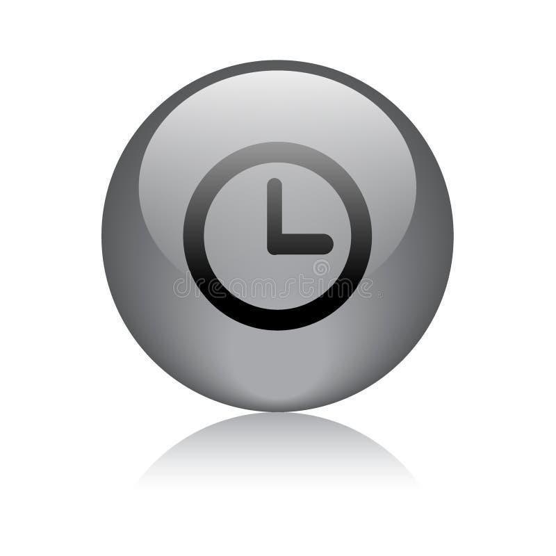 Negro del botón del web del icono del reloj ilustración del vector