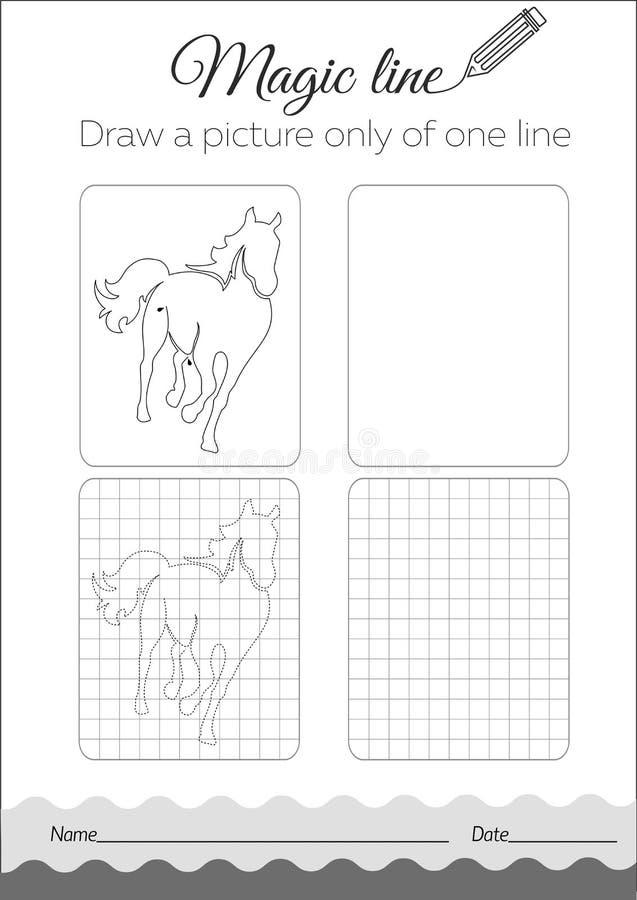 Negro del caballo del libro de colorear stock de ilustración