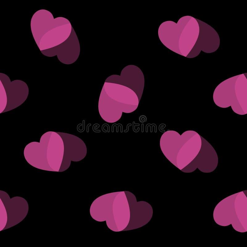 Negro del corazón del rosa del fondo del corazón fotos de archivo