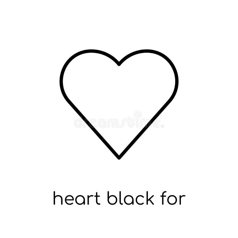 Negro del corazón para el icono de las tarjetas del día de San Valentín Vecto linear plano moderno de moda libre illustration