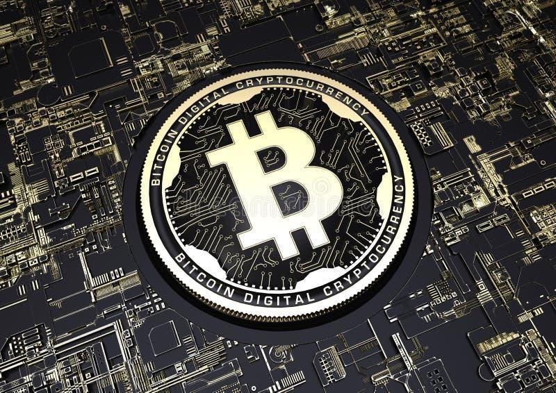 negro del ejemplo 3d y moneda de Bitcoin del oro stock de ilustración