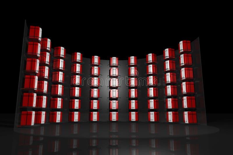 Negro del estante del servidor con el DOF ilustración del vector