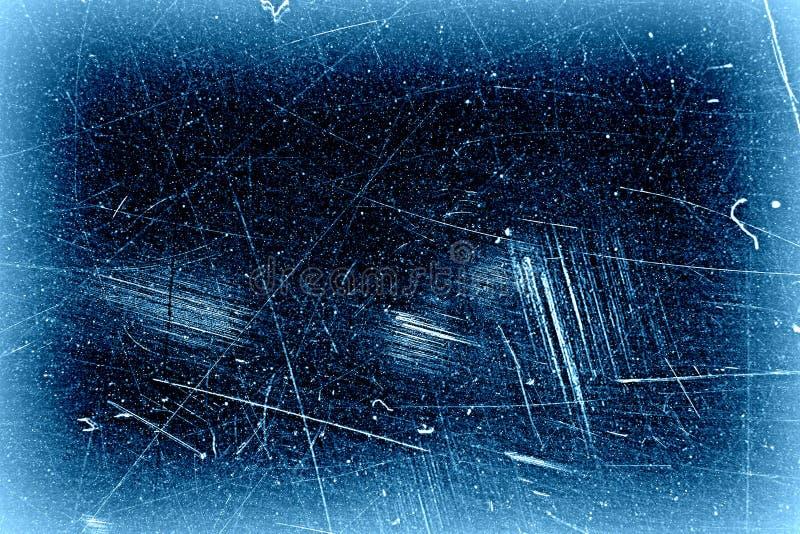 Negro del extracto con la textura azul del fondo del grunge del marco, vieja superficie llevada stock de ilustración