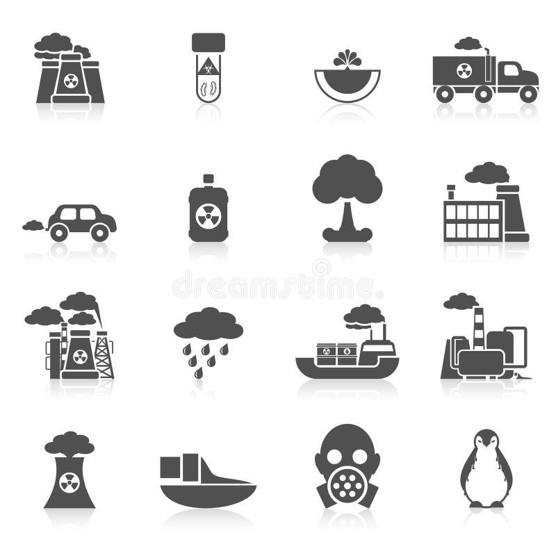 Negro del icono de la contaminación stock de ilustración