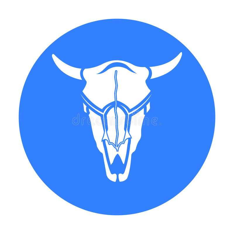 Negro del icono del cráneo de Bull Chamusque el icono occidental del negro del oeste salvaje stock de ilustración