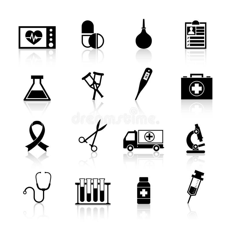 Negro del icono del equipamiento médico ilustración del vector