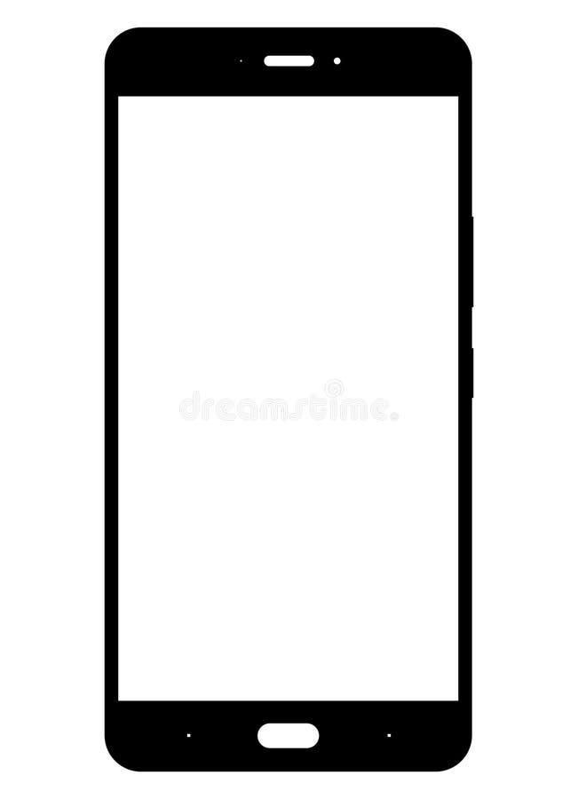 negro del icono del smartphone en el fondo blanco ilustración del vector