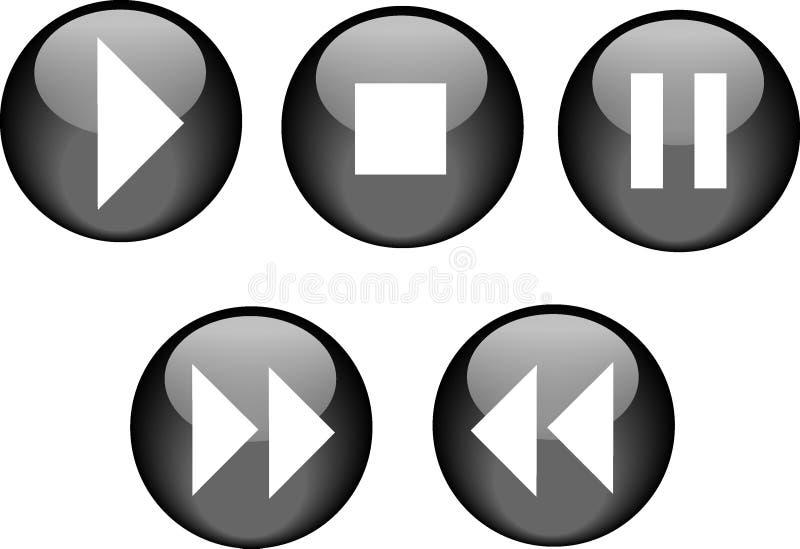 Negro del lector de cd de los botones ilustración del vector