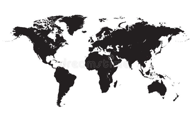 Negro del mapa del mundo ilustración del vector