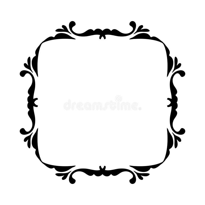 Negro del marco del vintage en blanco stock de ilustración