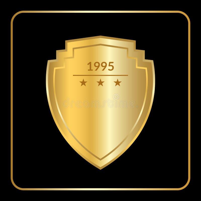 Negro del oro del emblema del escudo stock de ilustración