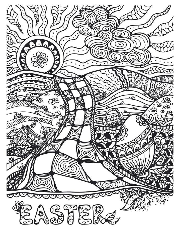 Negro Del Paisaje De Pascua Del Zen-garabato En Blanco Ilustración ...