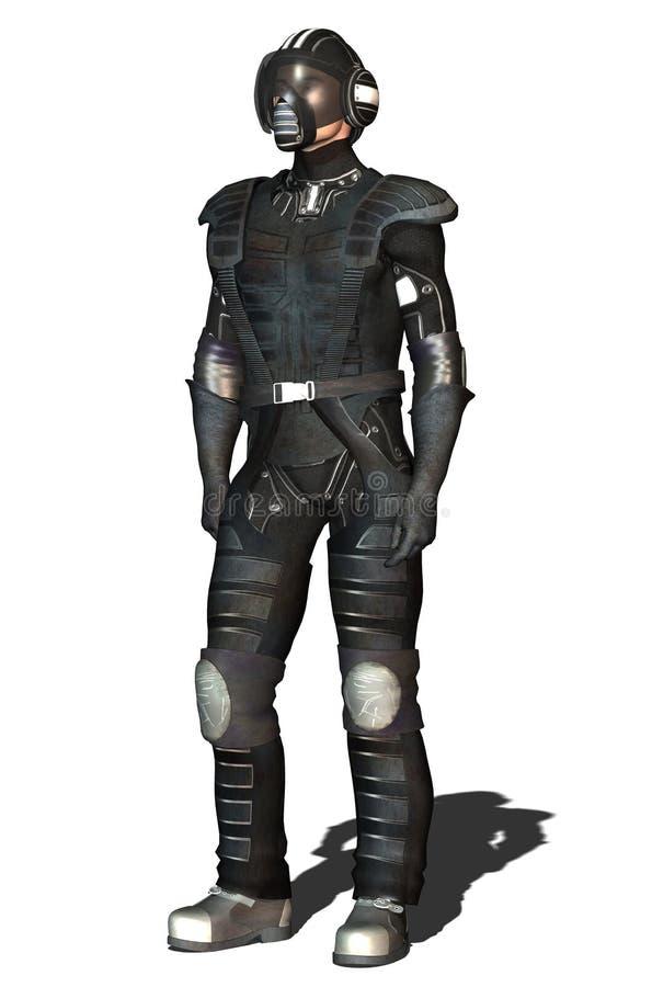 Negro del piloto de caza del espacio stock de ilustración