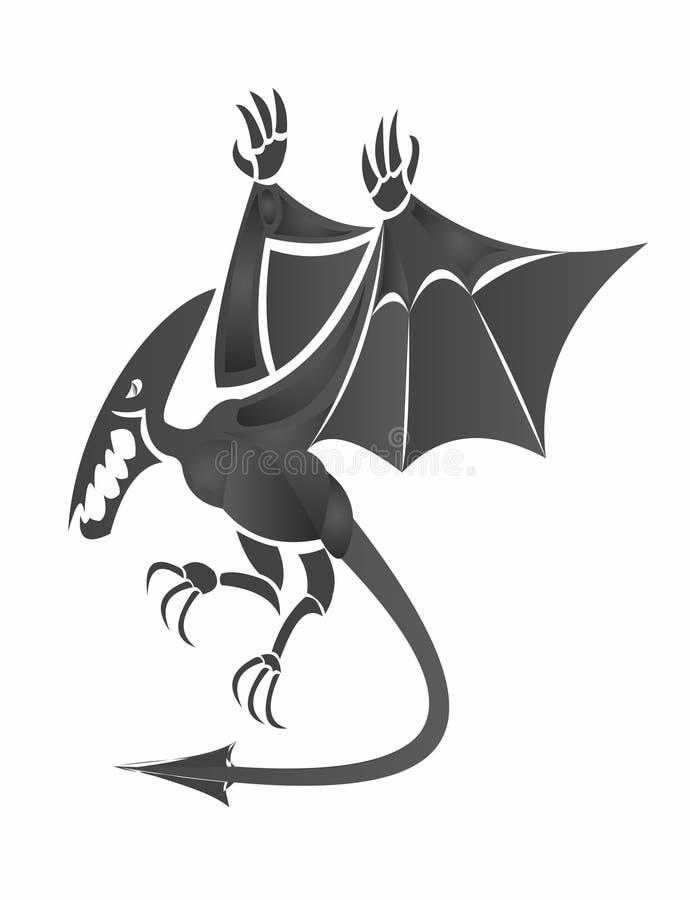 Negro del pterodáctilo 3d en blanco ilustración del vector