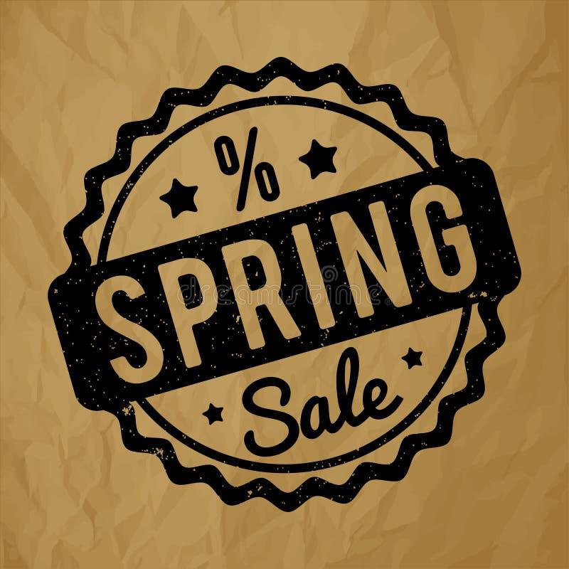 Negro del sello de goma de la venta de la primavera en un fondo marrón de papel arrugado stock de ilustración