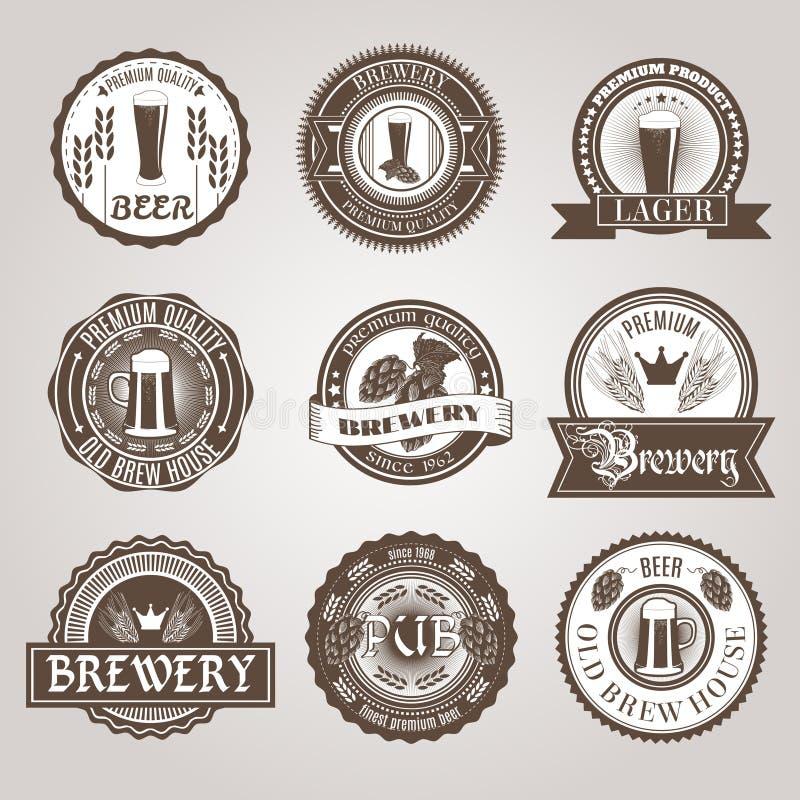 Negro del sistema de etiquetas de la cerveza stock de ilustración