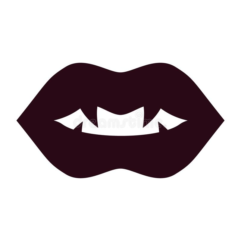 Negro del vampiro de los labios stock de ilustración