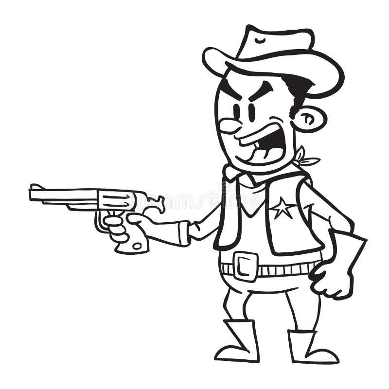 Negro del vaquero que sostiene un arma blanco y negro libre illustration