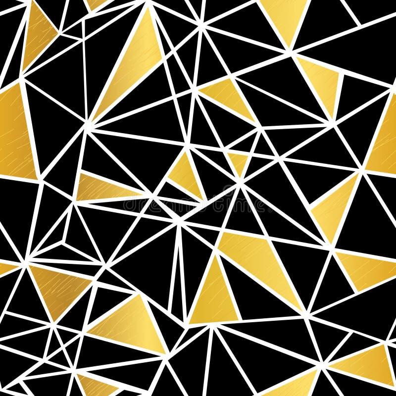 Negro del vector, blanco, y fondo inconsútil del modelo del mosaico de la hoja de oro de la repetición geométrica de los triángul stock de ilustración