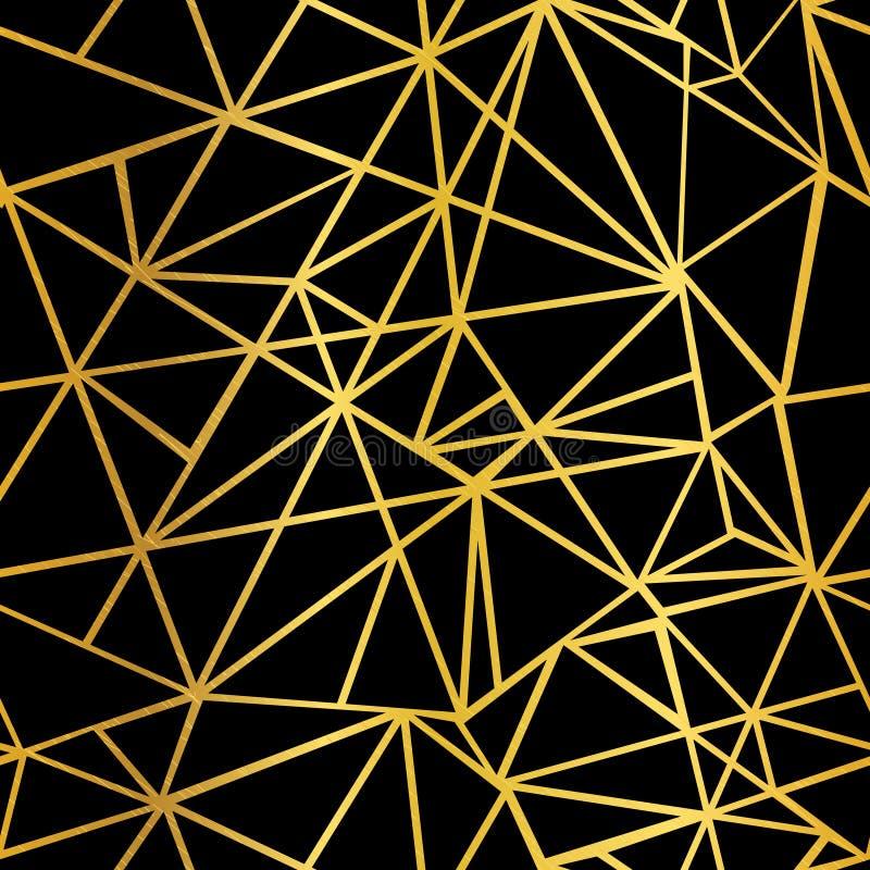 Negro del vector y fondo inconsútil del modelo del mosaico de la hoja de oro de la repetición geométrica de los triángulos Puede  ilustración del vector