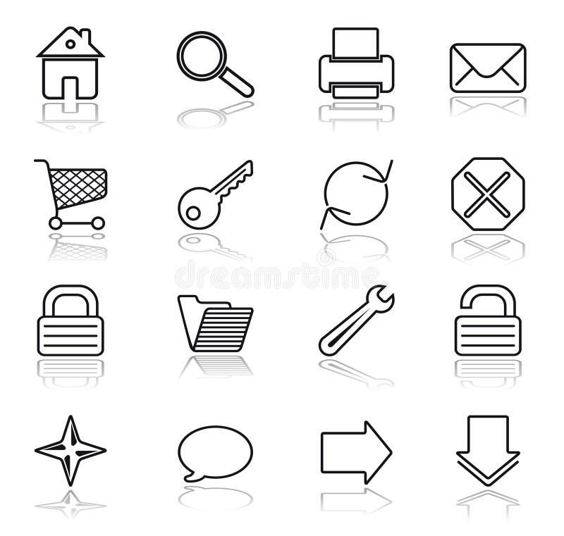 Negro del Web en los iconos blancos ilustración del vector
