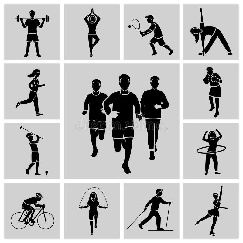 Negro determinado del icono del deporte ilustración del vector