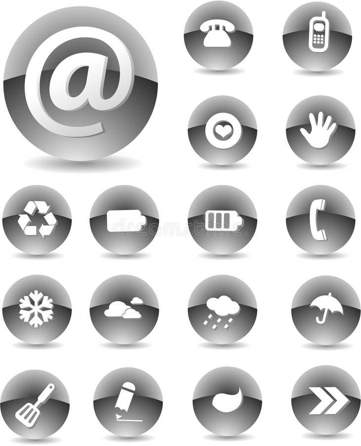 Negro determinado del icono del Web ilustración del vector