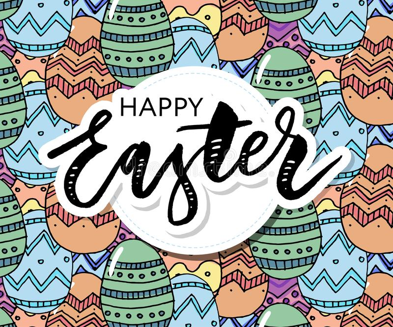 Negro dibujado mano de la composici?n de los huevos de Pascua en el fondo blanco Raya horizontal decorativa de los huevos con las libre illustration