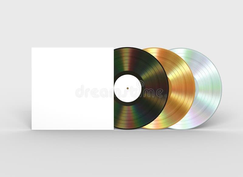 Negro, discos de vinilo del oro y del platino y caja del Libro Blanco ilustración del vector