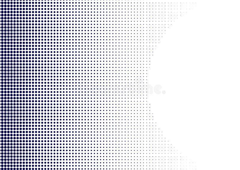 Negro Dots Pattern de semitono del extracto en el fondo blanco ilustración del vector