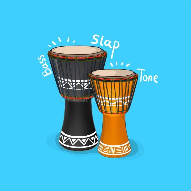 Negro Drumbe del vector con el bajo, el tono y la palmada