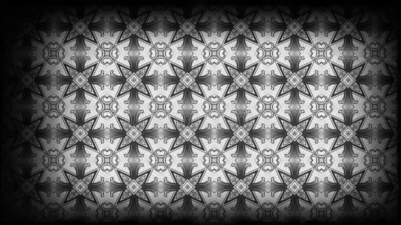 Negro e imagen de fondo de Gray Vintage Decorative Floral Pattern ilustración del vector