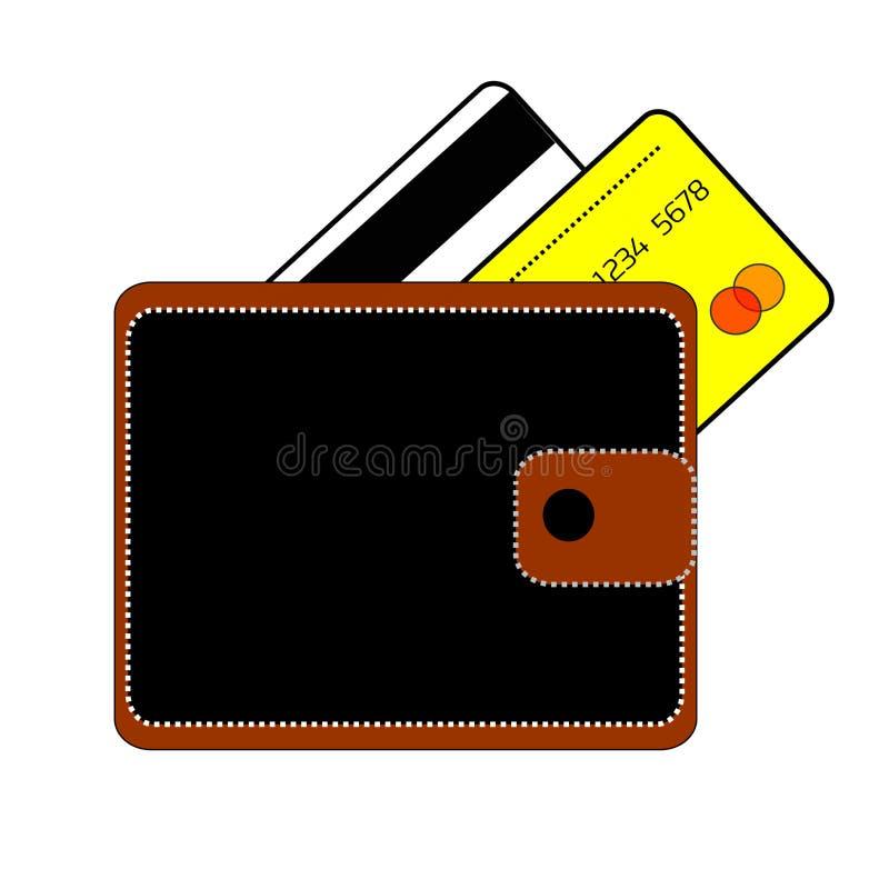 negro el monedero marrón con el botón y dos tarjetas de crédito son banco blanco y amarillo en un fondo blanco ilustración del vector