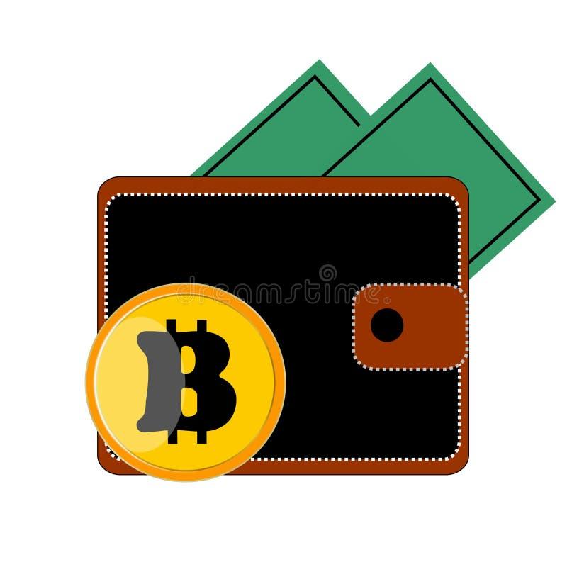 Negro el monedero marrón de ½ е del ¾ Ð del ¼ Ð del 'Ð del ¾ Ñ€Ñ del ¿Ð de Ð con el bitcoin del botón es banco blanco y amarillo libre illustration