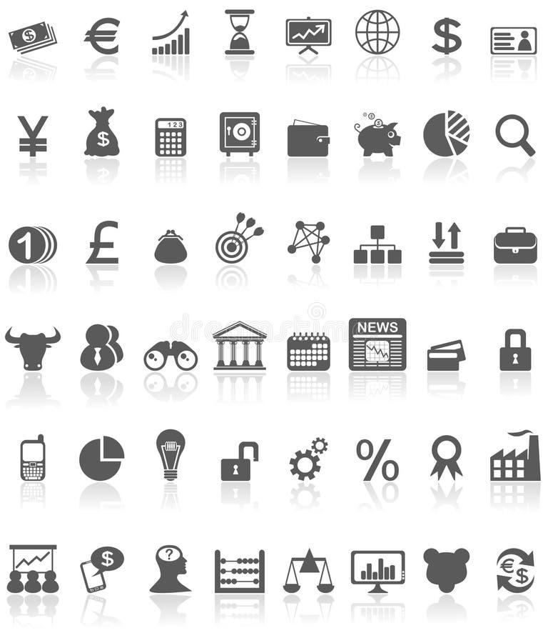 Negro financiero de la colección de los iconos en blanco ilustración del vector