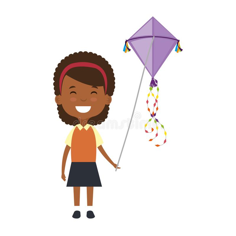 Negro hermoso de la niña que juega con el carácter de la cometa ilustración del vector