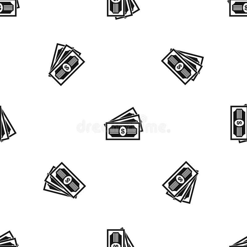 Negro inconsútil del modelo de tres billetes de dólar ilustración del vector