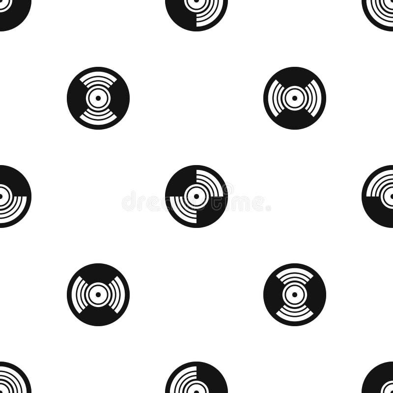 Negro inconsútil del modelo del expediente de LP del vinilo del gramófono ilustración del vector