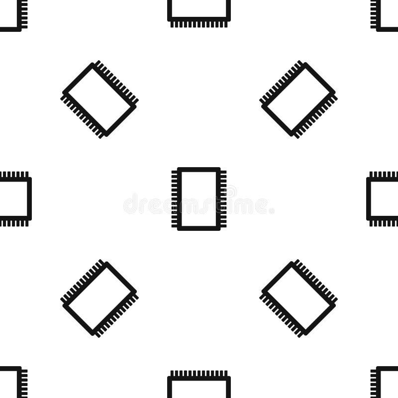 Negro inconsútil del modelo electrónico de la placa de circuito del ordenador ilustración del vector
