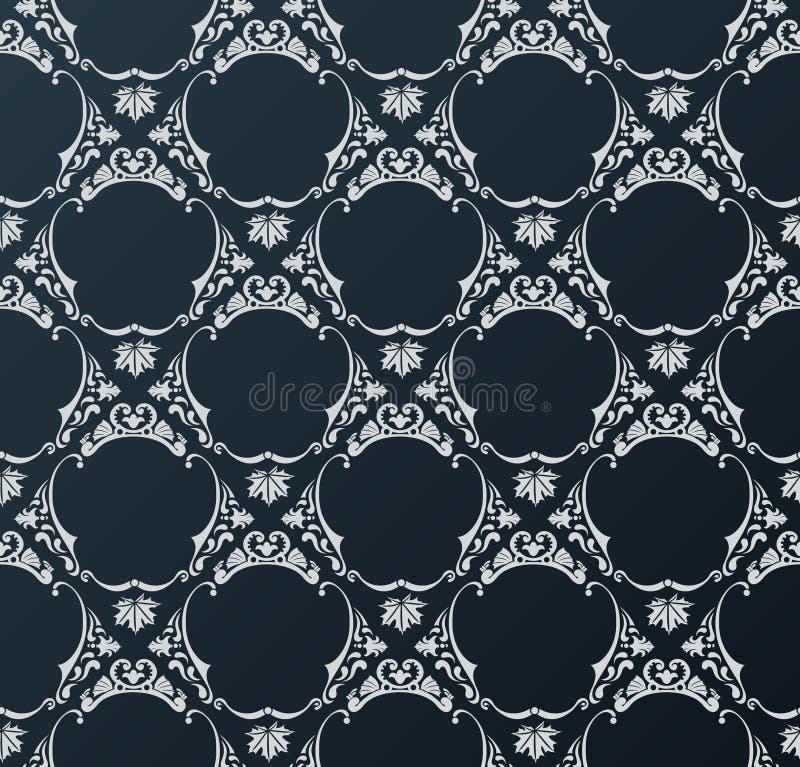 Negro inconsútil del vintage del fondo del papel pintado stock de ilustración
