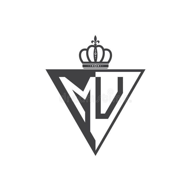 Negro inicial del triángulo del logotipo de MU de dos letras medio stock de ilustración
