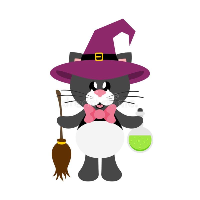 Negro lindo del gato de la historieta con el lazo en sombrero de la bruja con la poción mágica y la escoba libre illustration