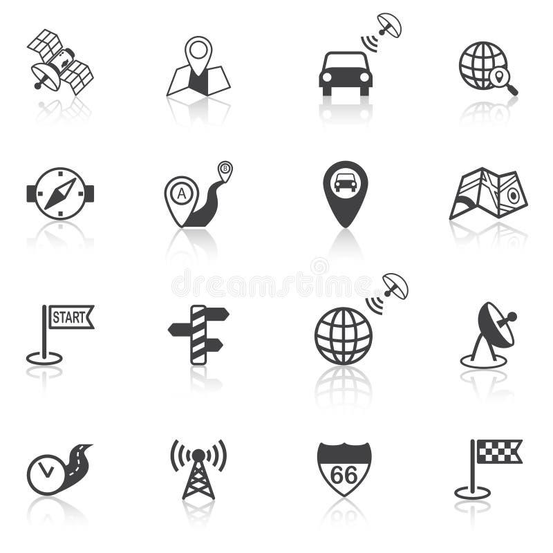 Negro móvil de los iconos de la navegación stock de ilustración